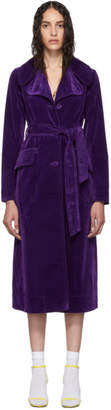 Marc Jacobs Purple Velveteen Fit and Flare Coat