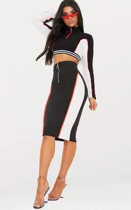 PrettyLittleThing Black Contrast Panel Zip Front Midi Skirt