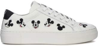 Moa Mickey Mouse White Leather Sneakers