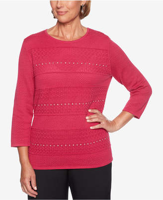 Alfred Dunner Petite Finishing Touches Embellished Sweater