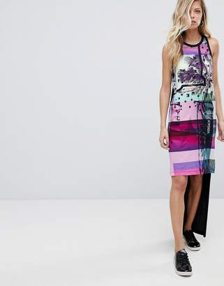 Versace Hi-Lo Tank Dress With Palm Print Logo