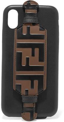 Fendi Embossed Leather Iphone X Case - Black