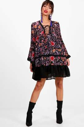 boohoo Kylie Lace Up Flute Sleeve Printed Dress $35 thestylecure.com
