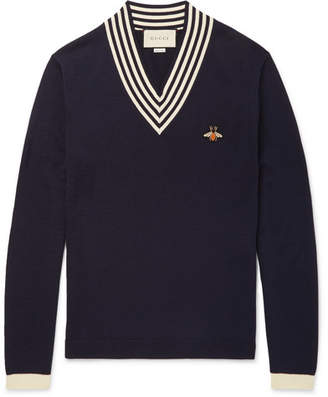 Gucci Striped Appliquéd Wool Sweater