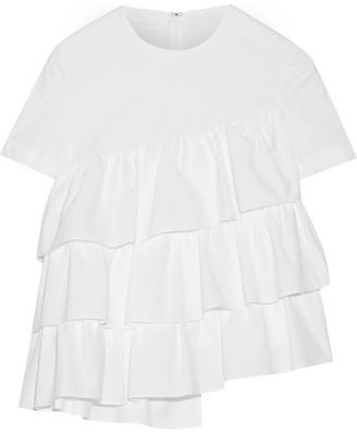 Co - Asymmetric Ruffled Cotton-poplin Top - White $325 thestylecure.com