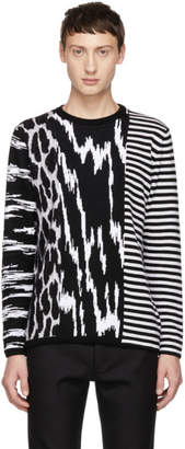Givenchy Black and White Animal Striped Sweater