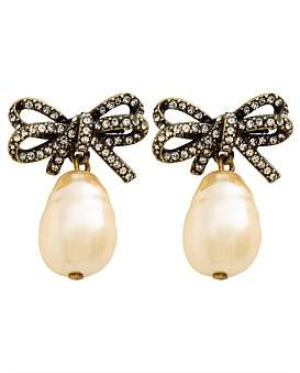 Marc Jacobs Small Bow Pearl Earrings