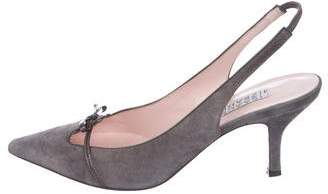 Isaac Mizrahi Suede Pointed-Toe Slingbacks