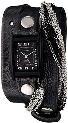 La Mer Women's LMMULTICW1019-GNM Watch with Black Leather Wrap-Around Band