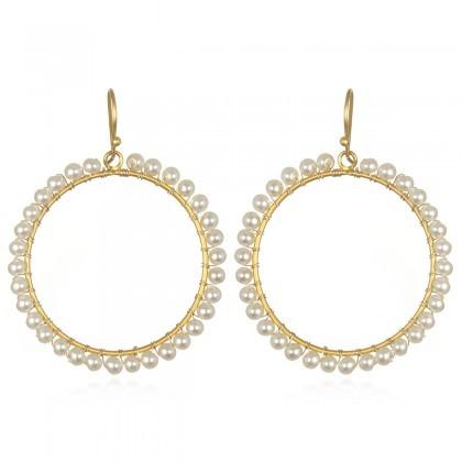 Wendy Mink Freshwater Pearl Circle Earrings