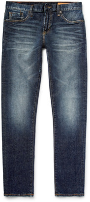 Jim Skinny-Fit Washed Selvedge Stretch-Denim Jeans $195 thestylecure.com