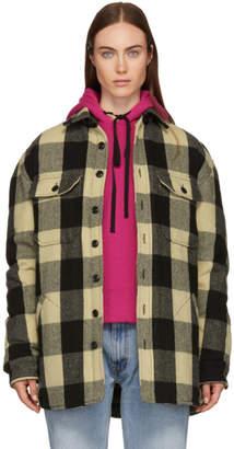 R 13 Black and Beige Buffalo Workshirt Jacket