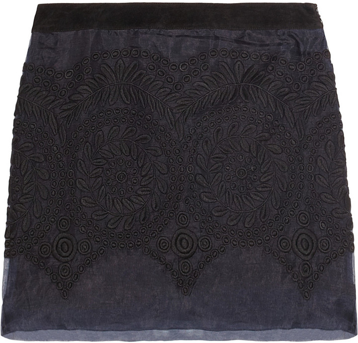Maje Rene suede-trimmed embroidered silk-organza mini skirt
