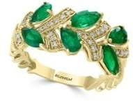 Effy Brasilica Diamond, Natural Emerald and 14K Yellow Gold Ring