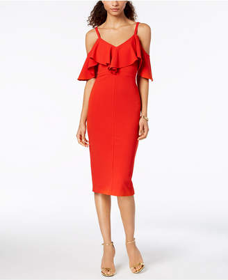 Rachel Roy Ruffled Cold-Shoulder Midi Dress