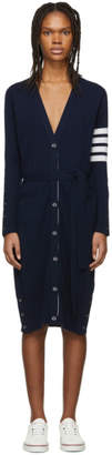 Thom Browne Navy Cashmere Long Cardigan