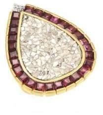 Shana Gulati 18K Goldplated Diamonds& Garnet Maiden Ring