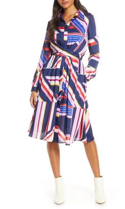 Julia Jordan Geometric Stripe Long Sleeve Shirtdress