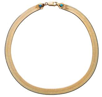 WWAKE 16 Inch Large Rhodes Herringbone Necklace - Yellow Gold