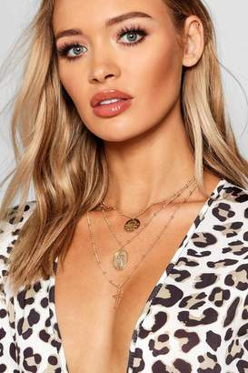 boohoo Lucy Sovereign Coin & Cross Layered Necklace