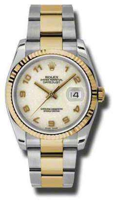 Rolex Datejust Steel and Yellow Gold Ivory Jubilee Arabic Dial 36mm Watch
