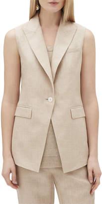 Lafayette 148 New York Vanya One-Button Nexus Linen Vest