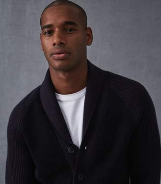 Reiss Our last order date for Christmas has now passed SANDRINGHAM SUEDE FRONT CARDIGAN Navy