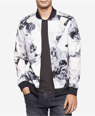 Calvin Klein Men's Black and White Floral Jacket $108 thestylecure.com