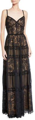 Tadashi Shoji Sleeveless Lace & Pleated Dress