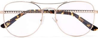 Jimmy Choo Aviator-style Rose Gold-tone Optical Glasses