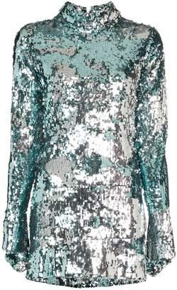 Halpern silver sequin embellished contrast mini dress