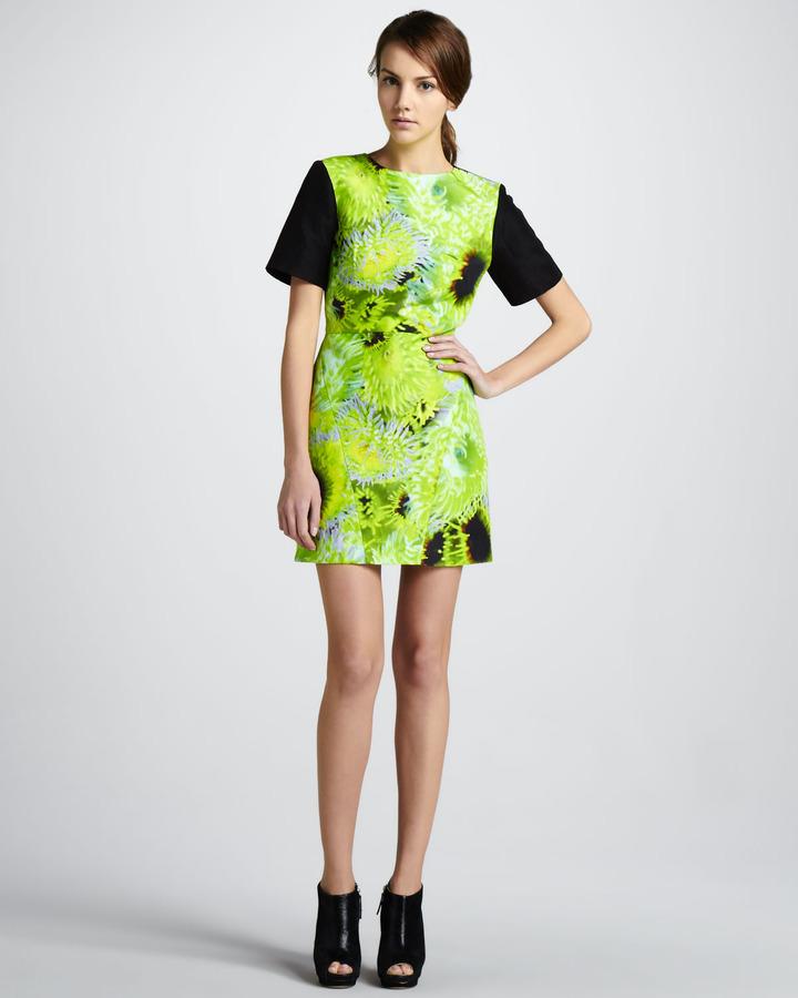 Tibi Printed Solid-Sleeve Dress