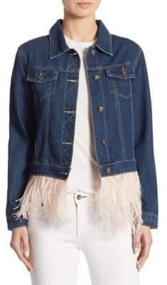 Cotton Denim & Feather Hem Jacket