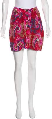 Tibi Silk Printed Mini Skirt