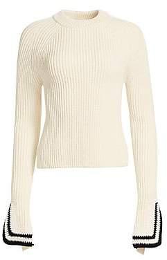 Helmut Lang Women's Crochet Flare-Cuff Wool Sweater