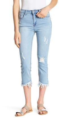 C&C California Asymmetrical Frayed Hem Cropped Jeans