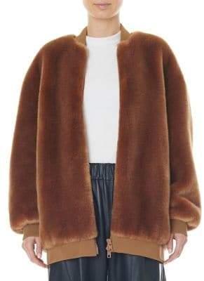 Tibi Faux Fur Zip-Up Track Jacket
