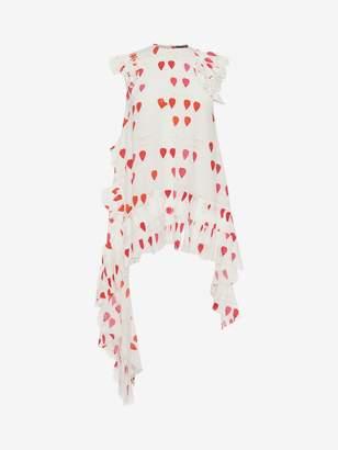 Alexander McQueen Asymmetrical Petal Print Silk Top