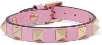 Valentino Garavani The Rockstud Leather And Gold-tone Bracelet - Pastel pink