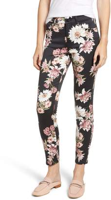 Jen7 Floral Skinny Stretch Cotton Ankle Pants