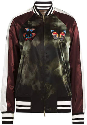 Valentino Satin Bomber Jacket with Butterfly Patches