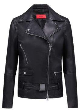 HUGO Boss Relaxed-fit leather jacket buckled belt S Black