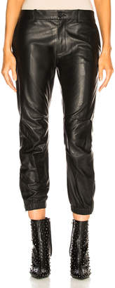 Nili Lotan Leather Cropped French Military Pant in Black | FWRD