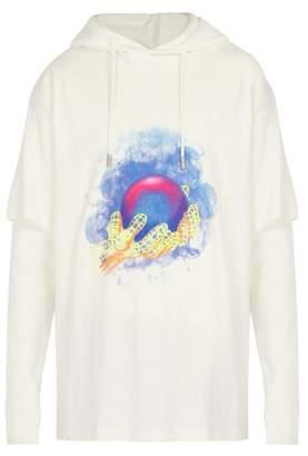 Off-white - Layered Cotton Hooded Sweatshirt - Mens - White
