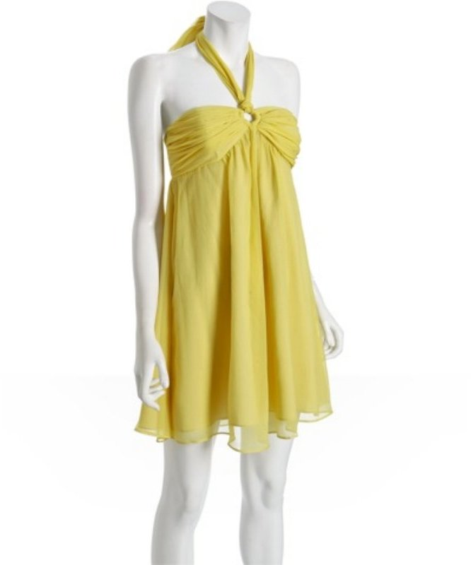 Betsey Johnson yellow crinkled silk chiffon ring halter dress