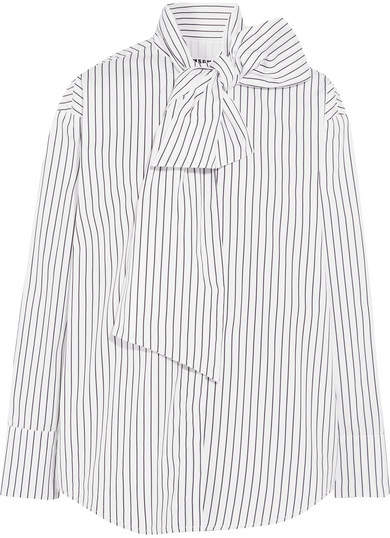 MSGM - Pussy-bow Striped Cotton-poplin Shirt - White