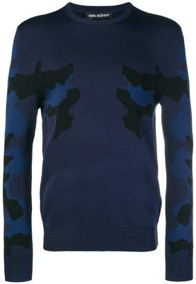Neil Barrett camouflage knitted jumper