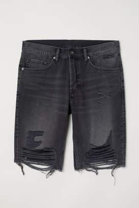 H&M Straight Long Denim Shorts - Gray