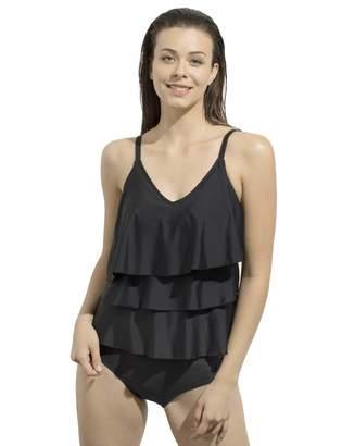 Hoseng Womens Swimwera V-Neck Two Piece Swimsuits Tiered Ruffle Tankini Top with Briefs