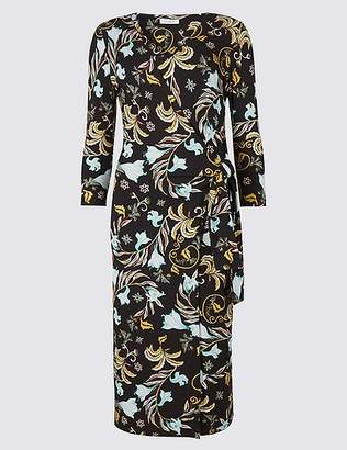 Marks and Spencer Printed Knot Front Half Sleeve Dress
